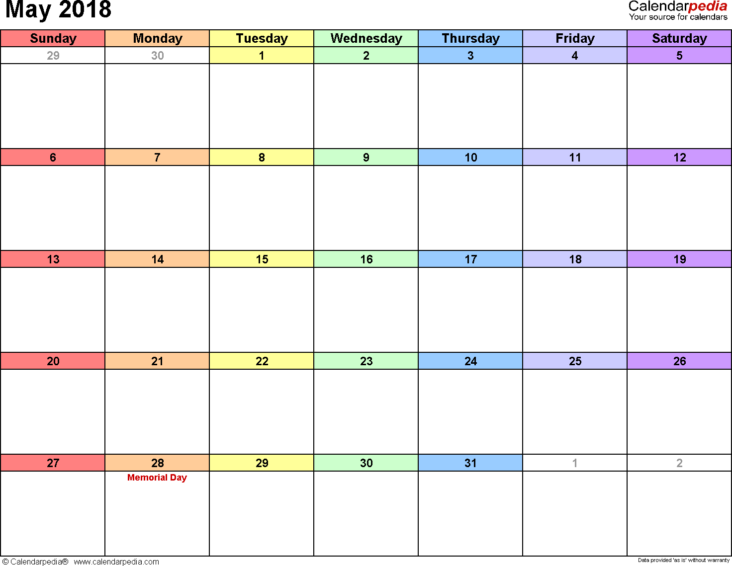 May  Calendar Printable Template  Teaching Classroom