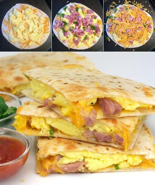 30 Brunch Ideas Including Ham Cheese Crescent Puffs: Making Ham & Cheese Breakfast Quesadillas