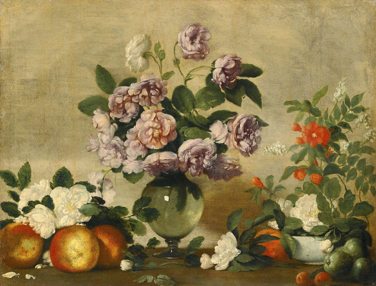 """""""Natura morta con peonie rosa e bianche in vaso di vetro"""" olio su tela (54x70) Bernardo Strozzi (Genova 1581 - Venezia 1644)"""