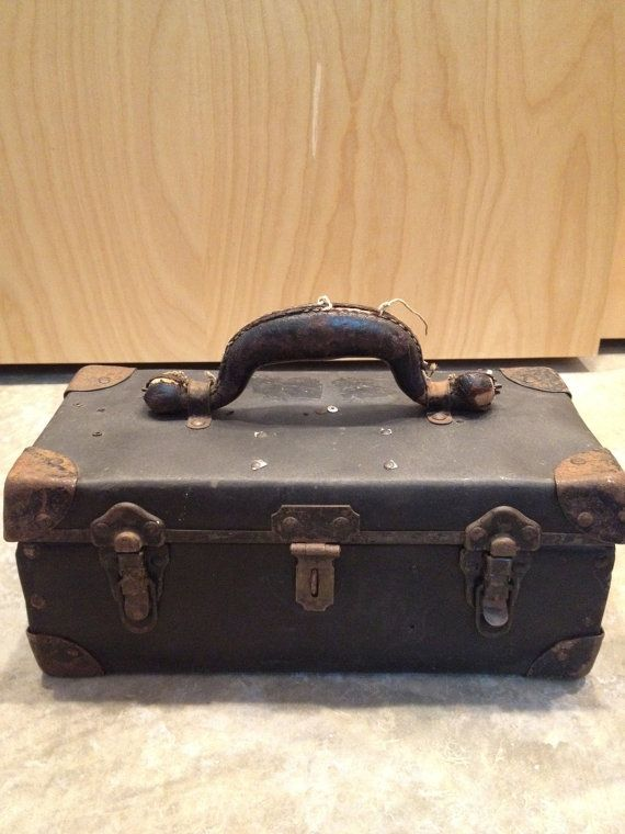 Small Metal Trunk With Leather Handle By Ober0186 On Etsy