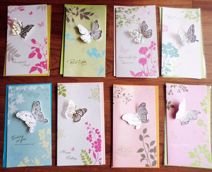 8pcsset Creative 3D Butterfly Greeting Cards With Envelopes For – Creative Birthday Card Messages