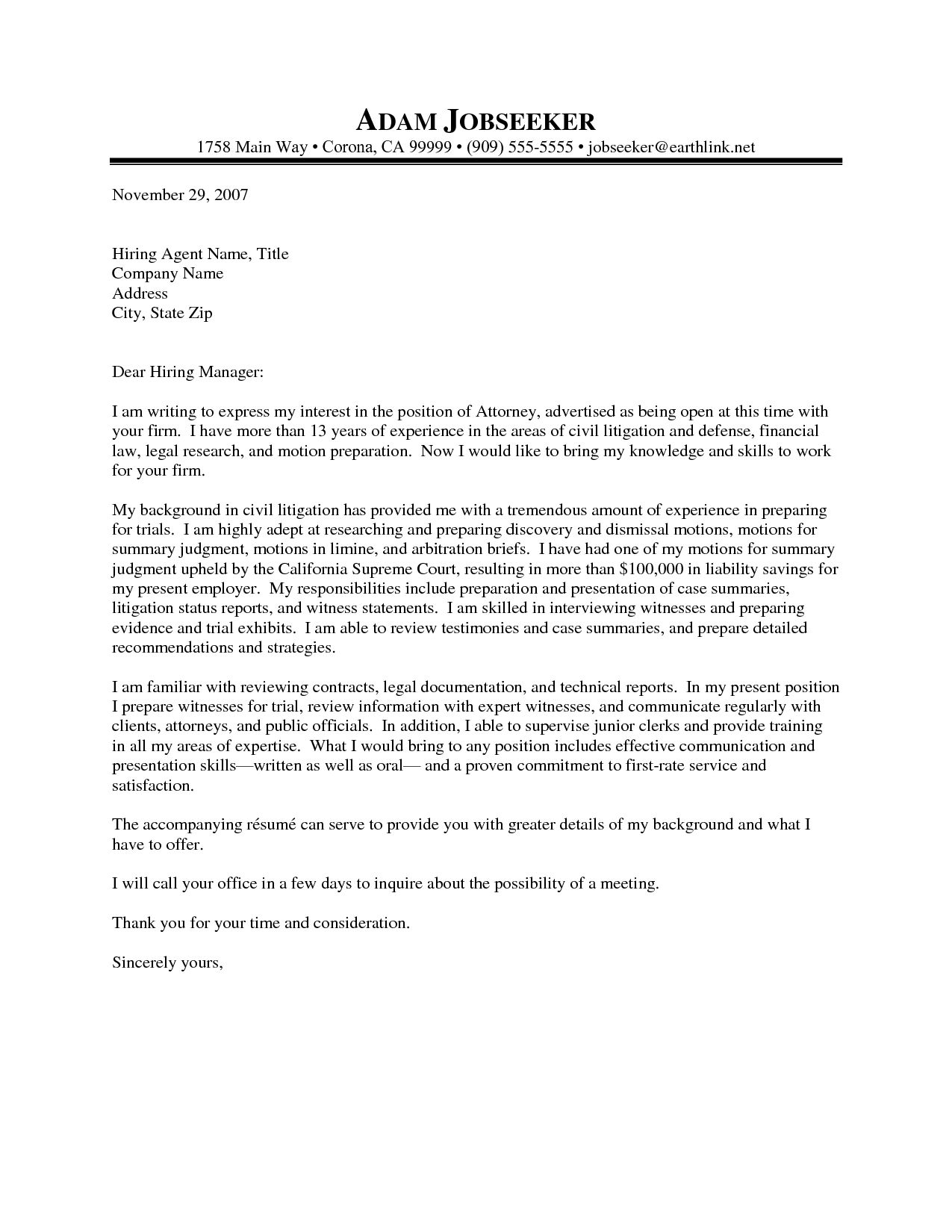 Law Firm Cover Letter Sample The Letter Sample Cover Letter Sample ...