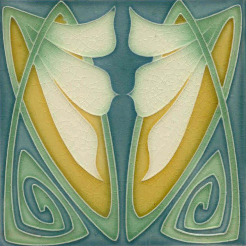 Art Nouveau Ceramic decorative wall tile 6 X 6 Inches #12 ...