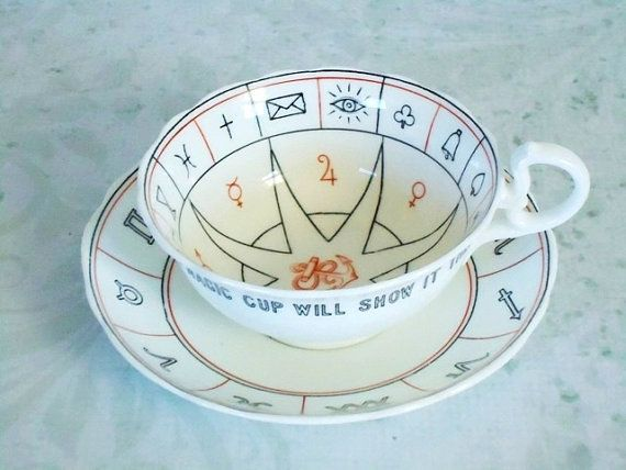 Fortune Telling Nelros Teacup and Saucer by by SwirlingOrange11, $215.00