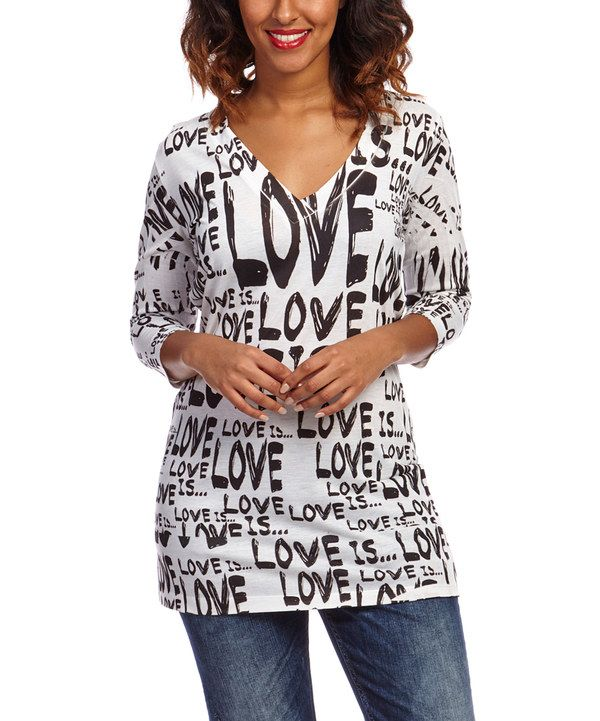 Look at this Citi Life White & Black 'Love Is' V-Neck Top on #zulily today!
