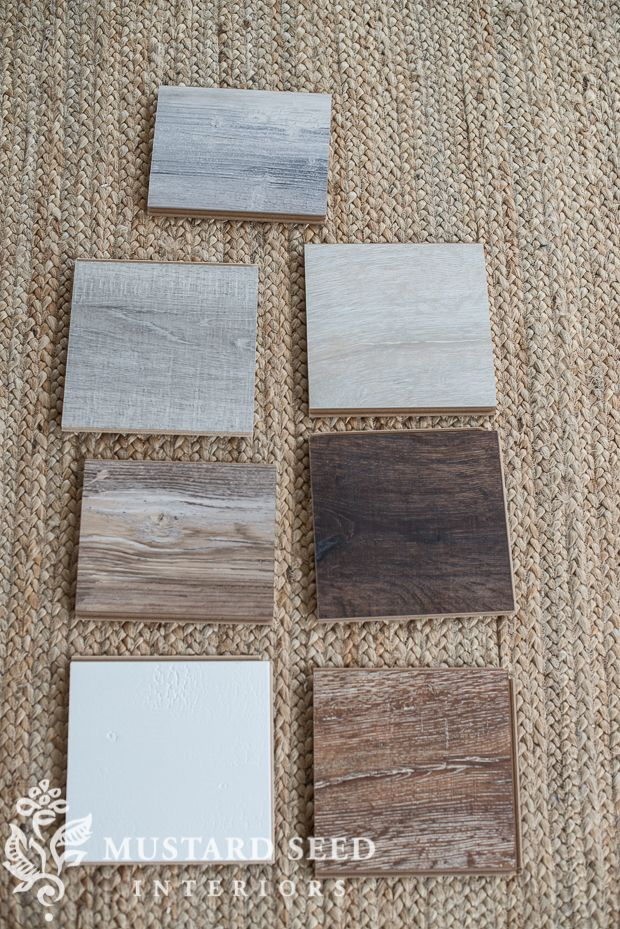 First, Miss Mustard Seed selected some Quick•Step flooring samples in the gray, brown, and even cream family.