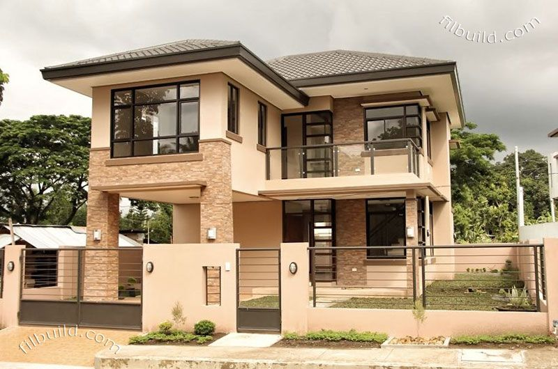 This 2 Storey Modern Asian Inspired House Has A Total Flor Area Of 144 0 Square Meters Built Philippines House Design 2 Storey House Design Modern House Plans