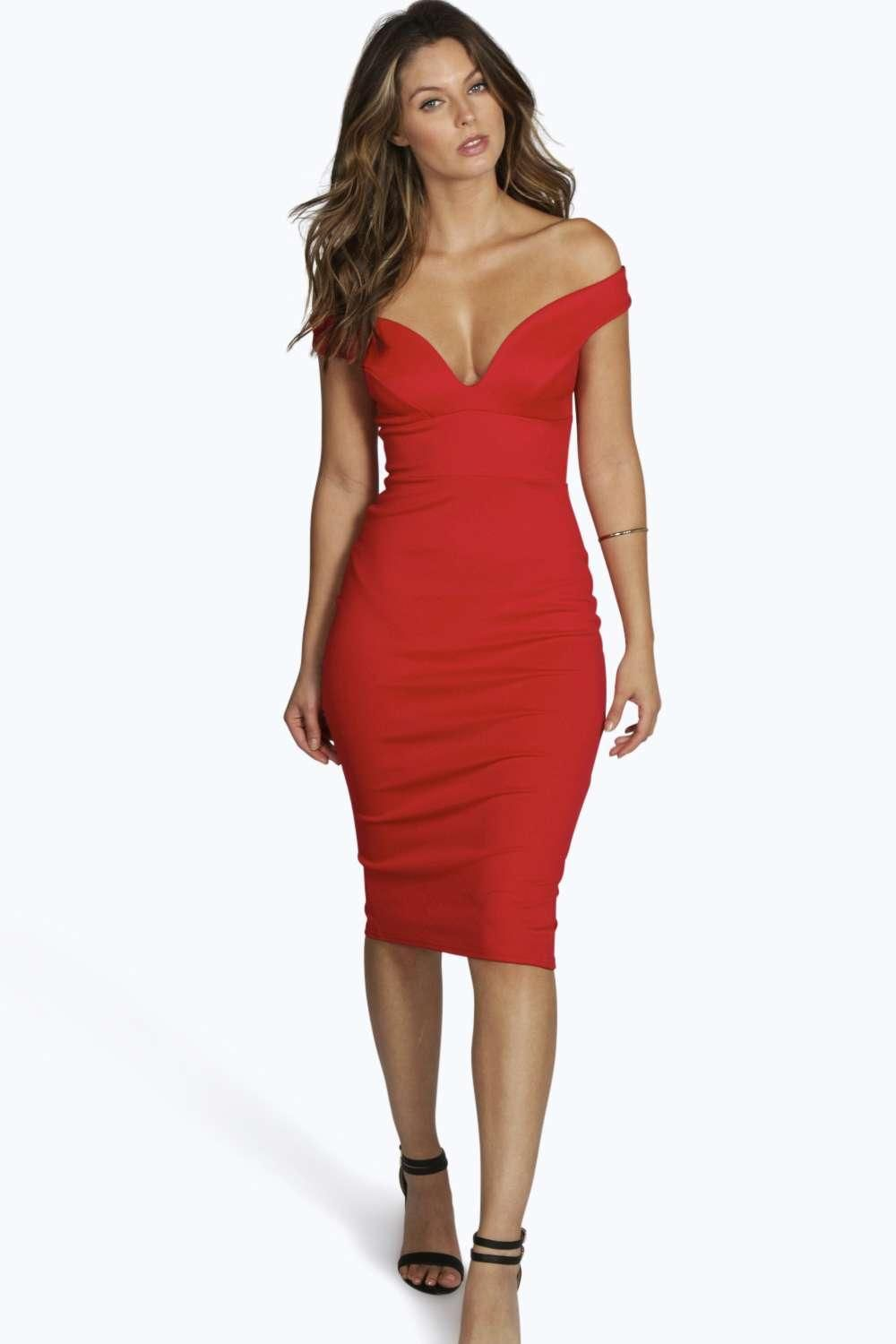 9986057c9e259 Sweetheart Off Shoulder Bodycon Midi Dress | Cute dresses | Red ...