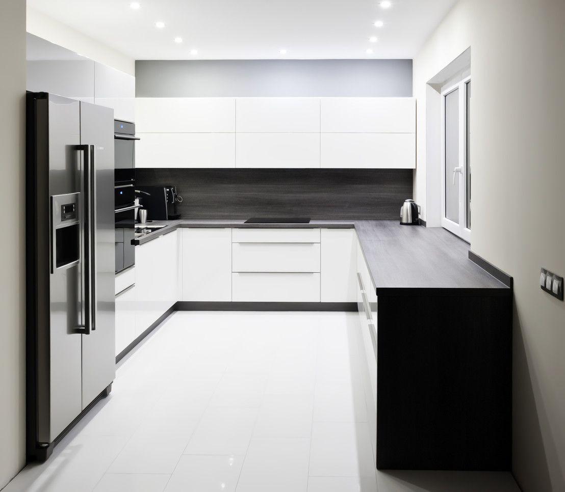 Kuchnia w czerni i bieli  6 przykładów  Kitchens, Design   -> Dluga Wąska Kuchnia W Bloku