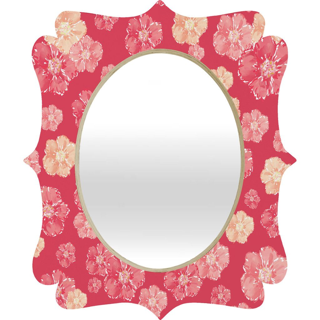 Lisa Argyropoulos Blossoms On Coral Quatrefoil Mirror | DENY Designs Home Accessories