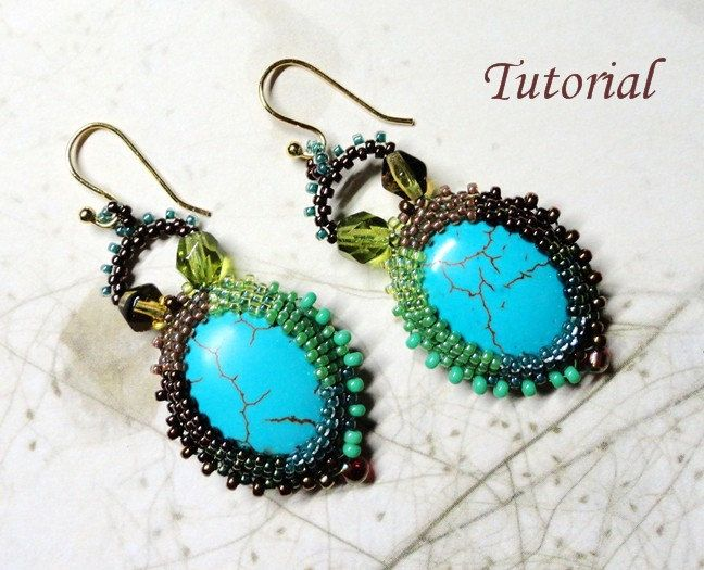 KIT and PDF Tutorial for Lagoon earrings - beaded seed bead jewelry - beadweaving beading pattern. $19.50, via Etsy.
