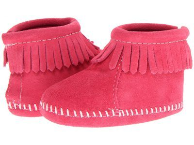 Minnetonka Kids - Suede Back Flap Bootie (Infant/Toddler) (Pink Suede) Girls Shoes