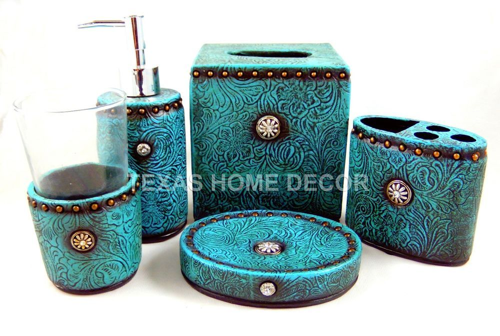 Western Turquoise Bathroom Accessory Set 5 Piece Tooled Leather