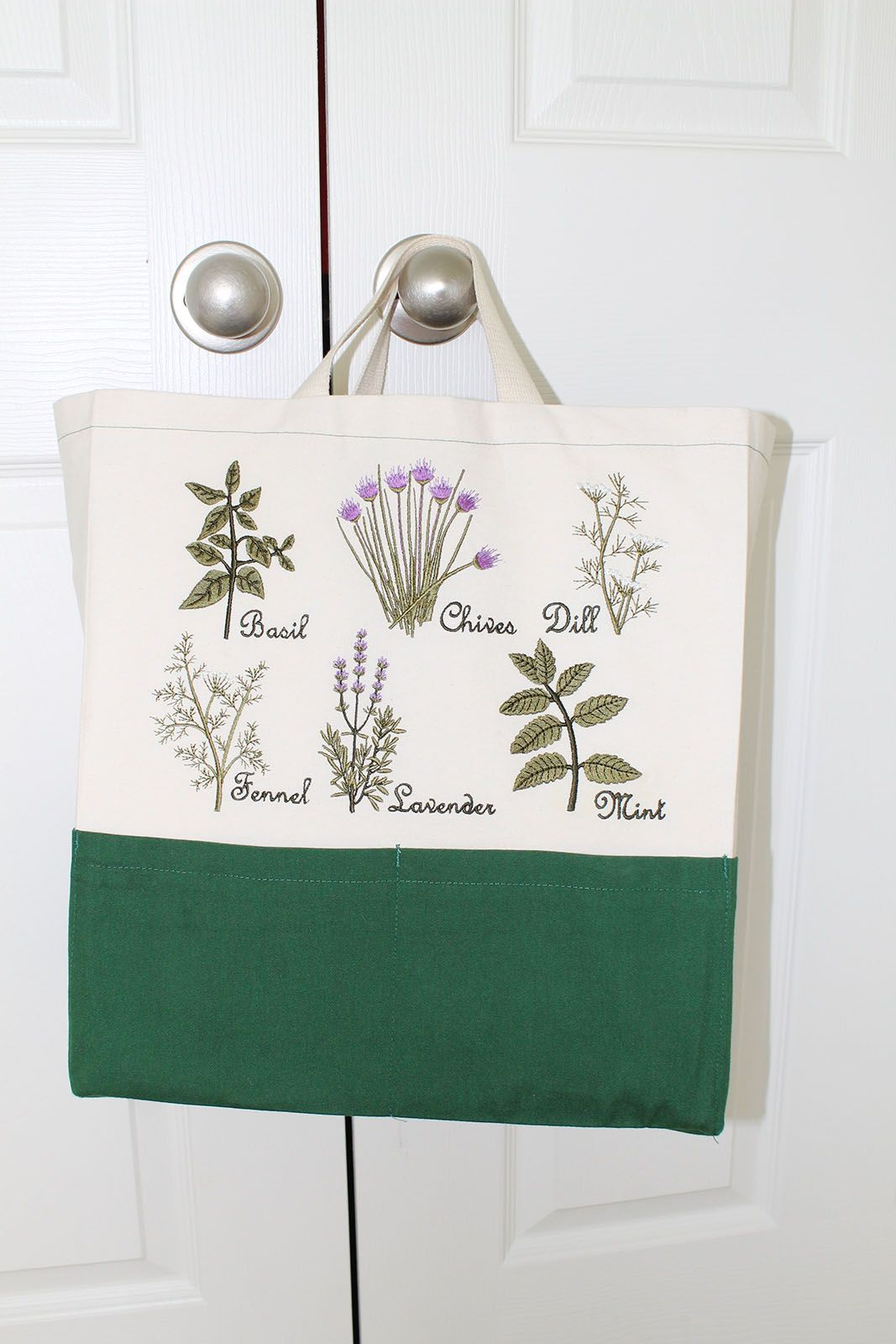 My Herb Garden Embroidery Designs on the Ten Pocket Tote