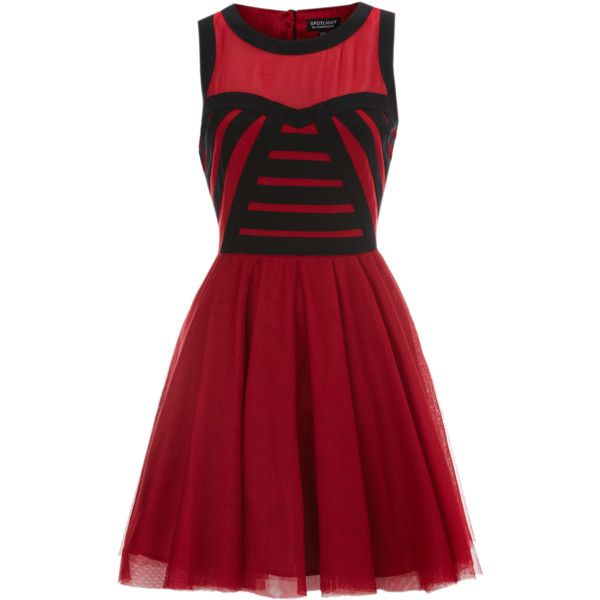 Warehouse Soft Mesh Colour Block Prom (€52) ❤ liked on Polyvore featuring dresses, vestidos, short dresses, red, dark red prom dresses, mini party dresses, night out dresses, red mini dress and short red dress
