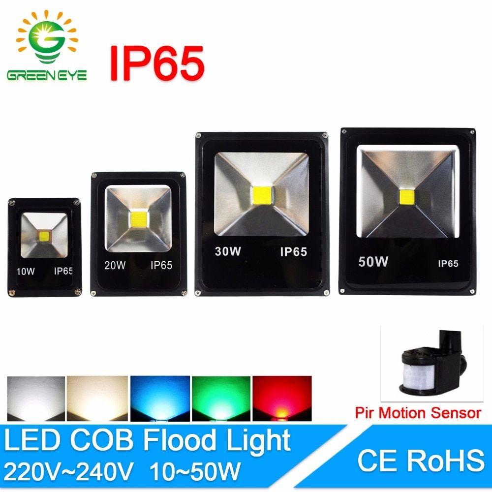 Led Flood Light 10w 20w 30w 50w Floodlight With Sensor Ip65 Ac 220v 12v 85v Led Spotlight Outdoor Lighting Projector R Led Flood Lights Led Flood Led Spotlight