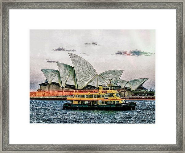 A grungy look at the iconic Sydney Opera House and the Scarborough ferry on the Harbour in Syney, New South Wales (NSW) Australia :) #art #sydneyharbour  #operahouse  #sydneyoperahouse #sydneyaustralia  #landmarks #travelphotography  #tourism #icon #interiordesignideas #printsforsale