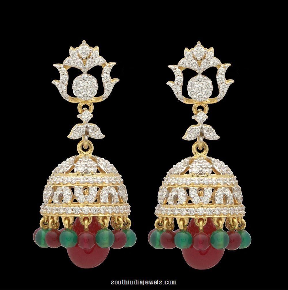 e2013dc4c Diamond Jhumka and Earrings From Tanishq | Diamond Earrings ...