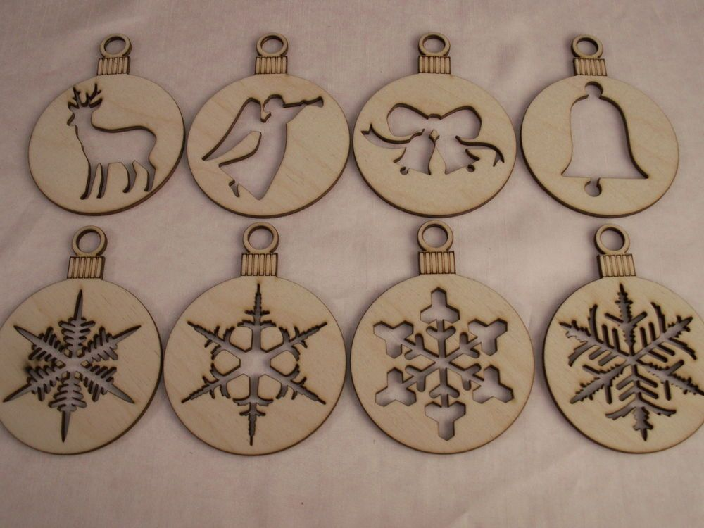 Christmas Ornaments 8 Piece Set Laser Cut Outs Unfinished