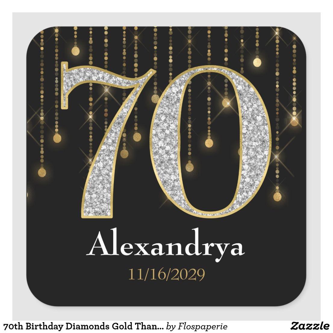 70th birthday diamonds gold favor tags stickers zazzle