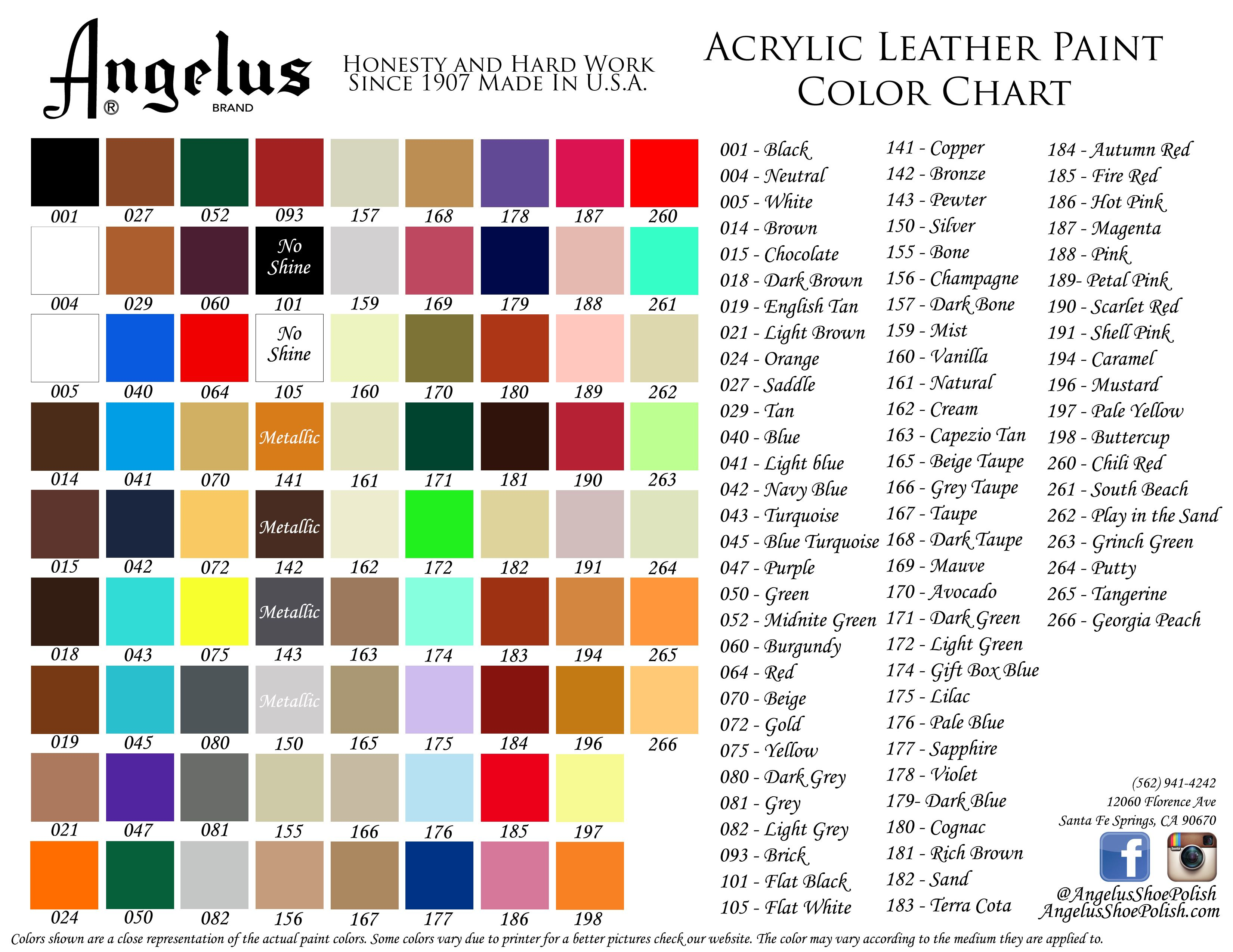 Acrylic Leather Paints For All Your Customizing Needs Angelusdirect Angelusbrand Colorchart Diy Customsnea Leather Paint Paint Color Chart Vinyl Painted
