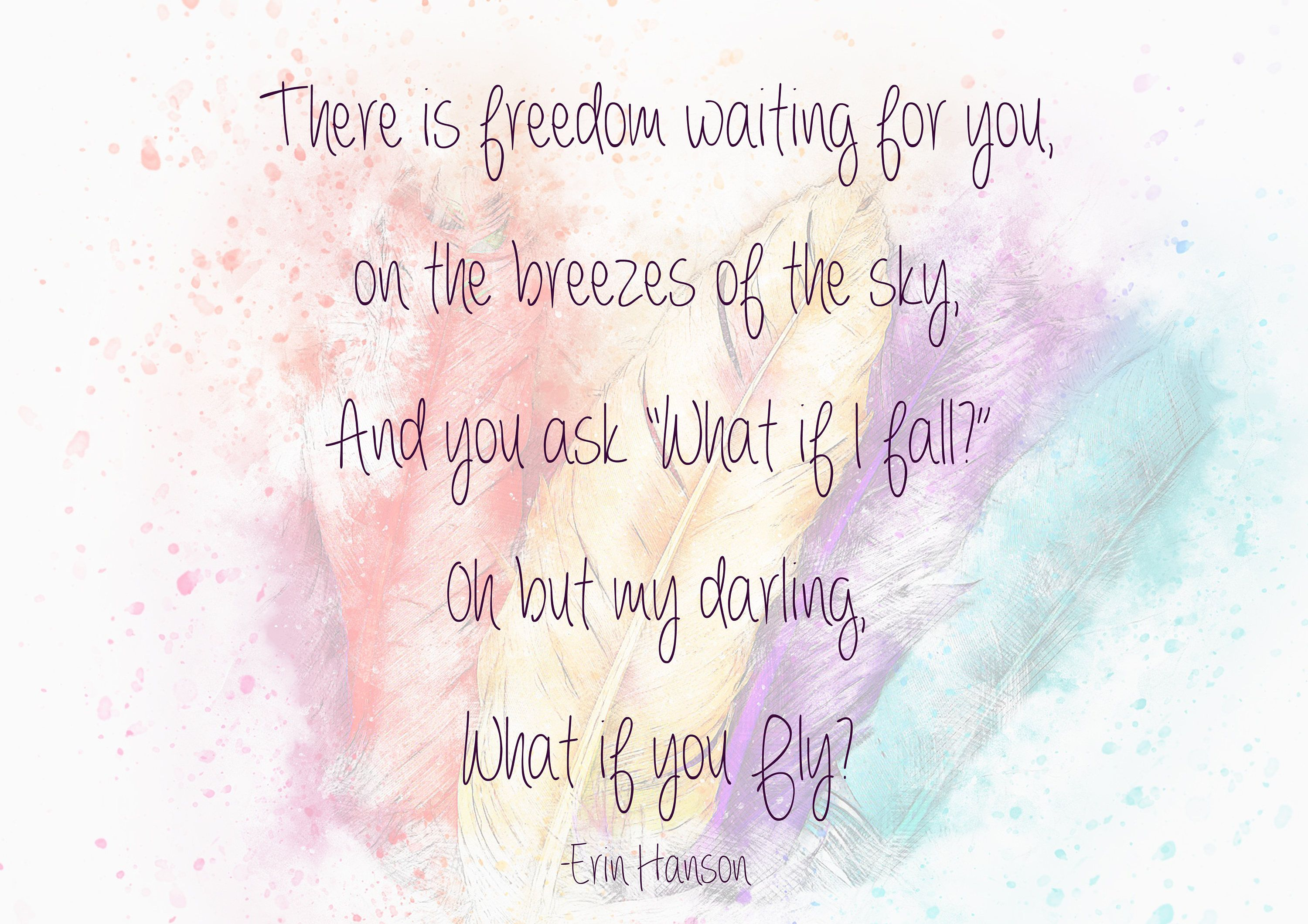What If I Fall Inspirational Wall Art Quote Poem Digital Download