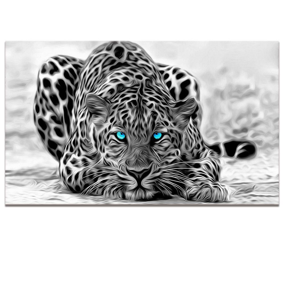 Black and White Animal Canvas Wall Art,Abstract Leopard