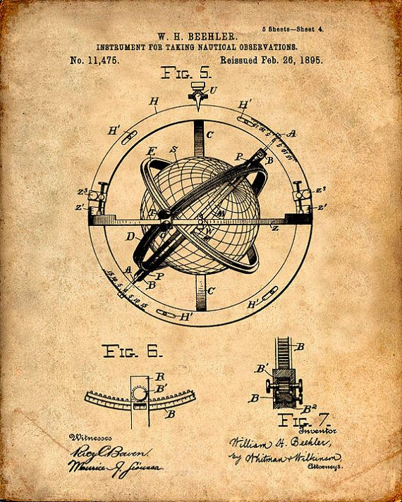 Nautical Observation Patent Print From 1895 - Compass - Patent Art ...