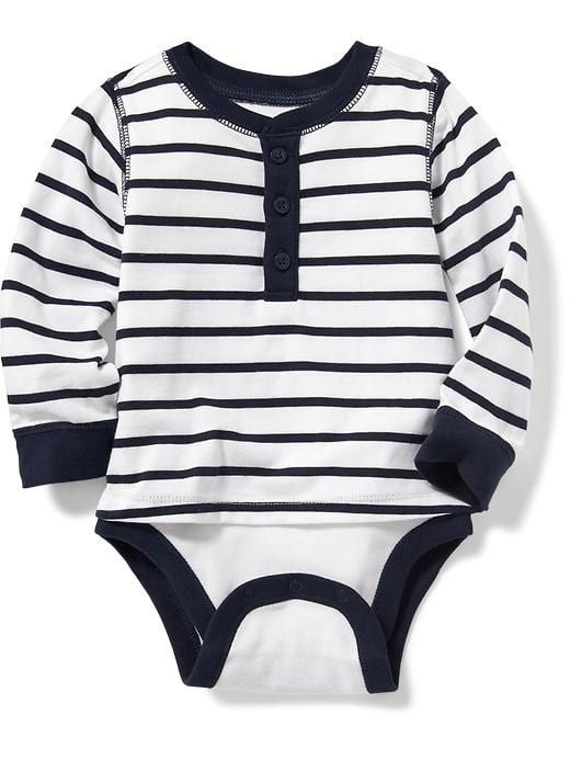 56c11ecf44af 2-in-1 Striped Henley Bodysuit for Baby