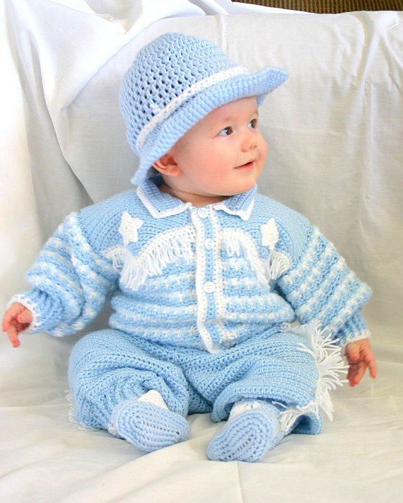 Baby cowboy layette 6 month crochet photography prop blue western ...