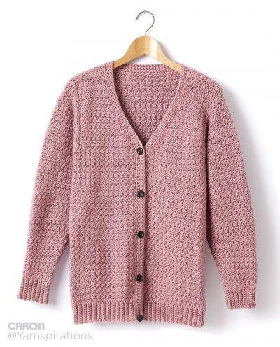 Caron Adult Crochet V-Neck Cardigan, Crochet Pattern | Yarnspirations