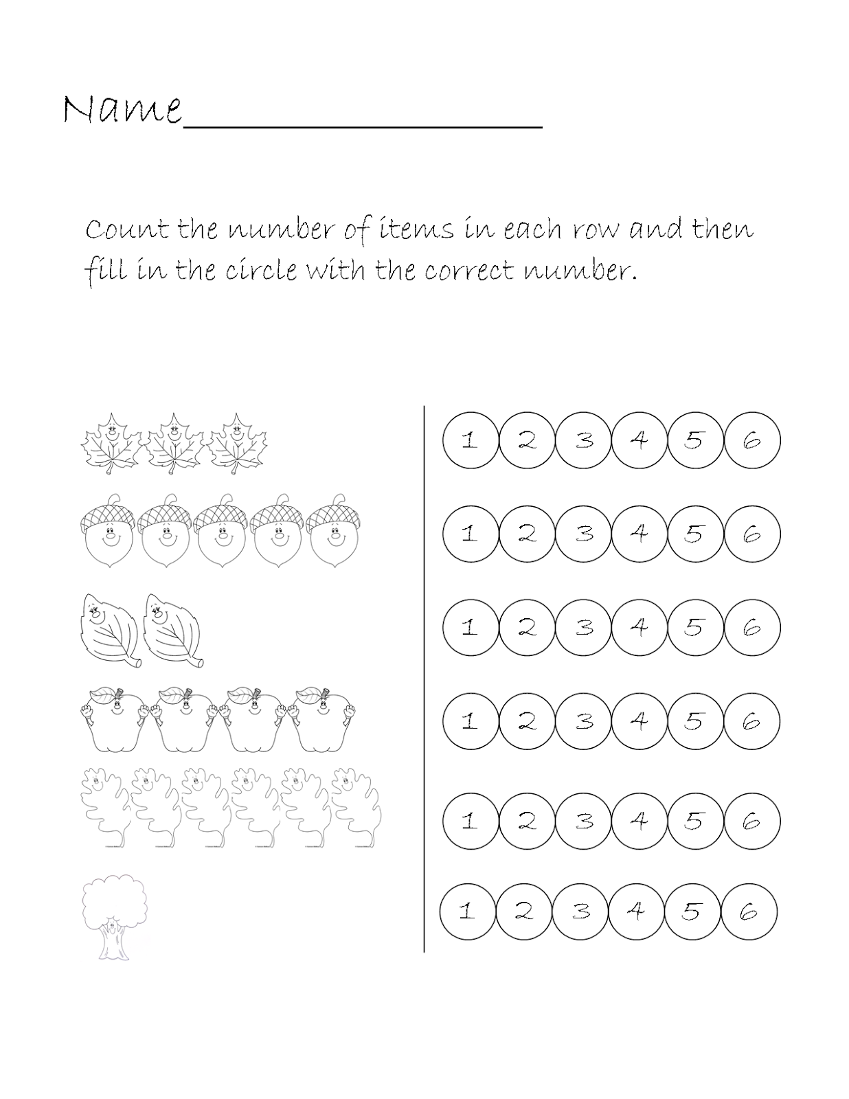 Printable Homeschool Number Worksheet Fall Theme