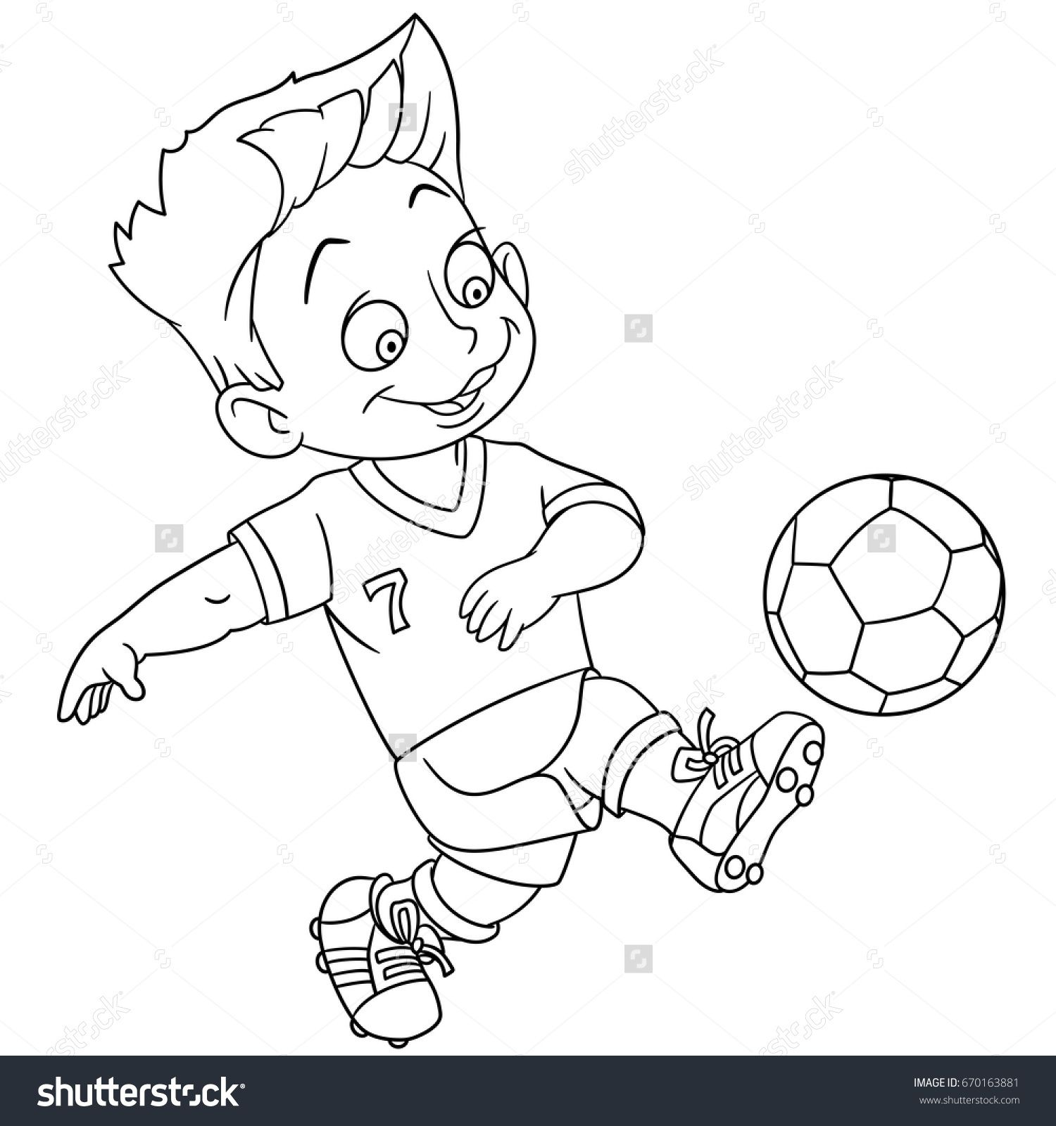 coloring page cartoon boy playing football vector illustration