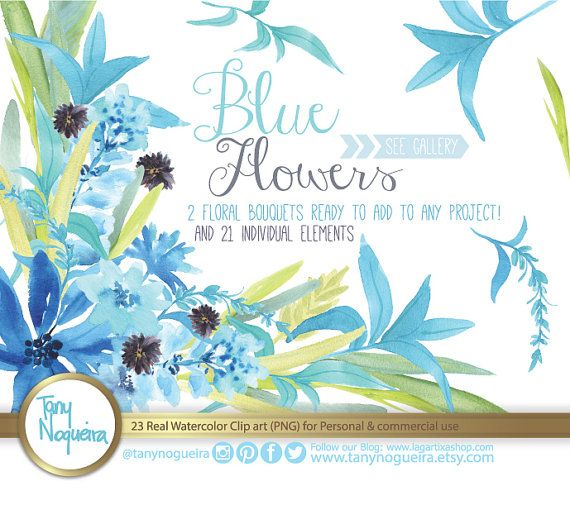 Watercolor Floral Wedding Elements Clipart PNG Blue Flowers Frames Spring Rustic Arrangement Posies Bouquet For Invitations