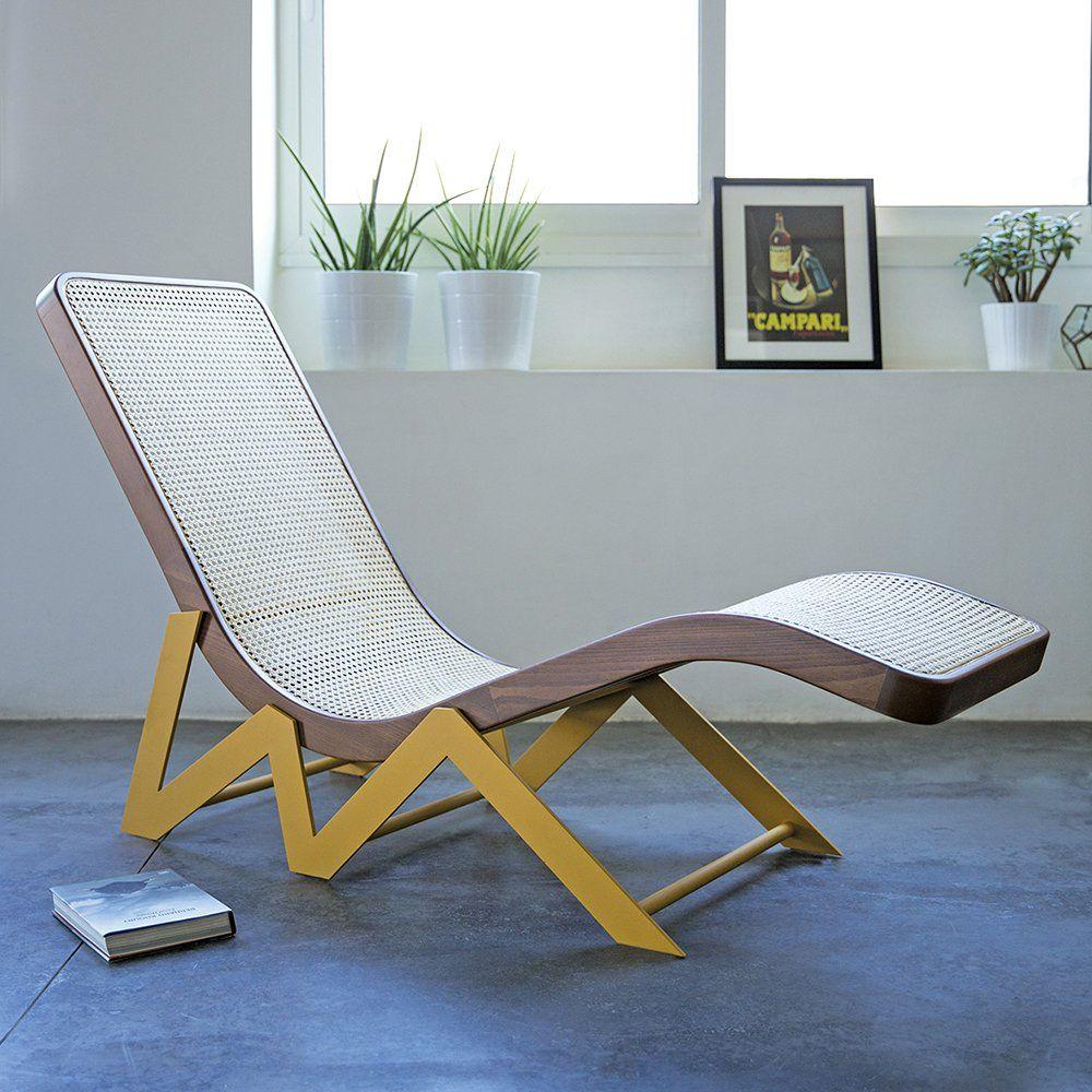 Chaise Longue En Cannage Bois Et Jaune Design Kann Design Osier