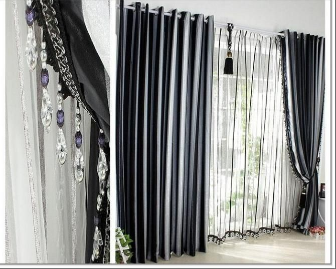 Attrayant Grey Black White Curtains Architecture Interior Decoration Of
