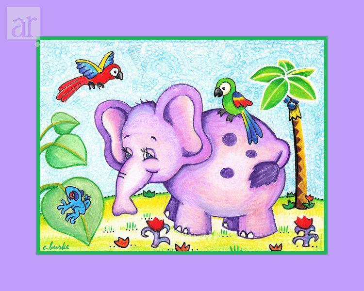 Lovely Lilac Elephant Mixed Media at ArtistRising.com