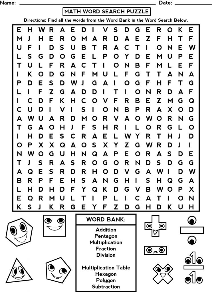 Third Grade Word Search Fun math worksheets, Math