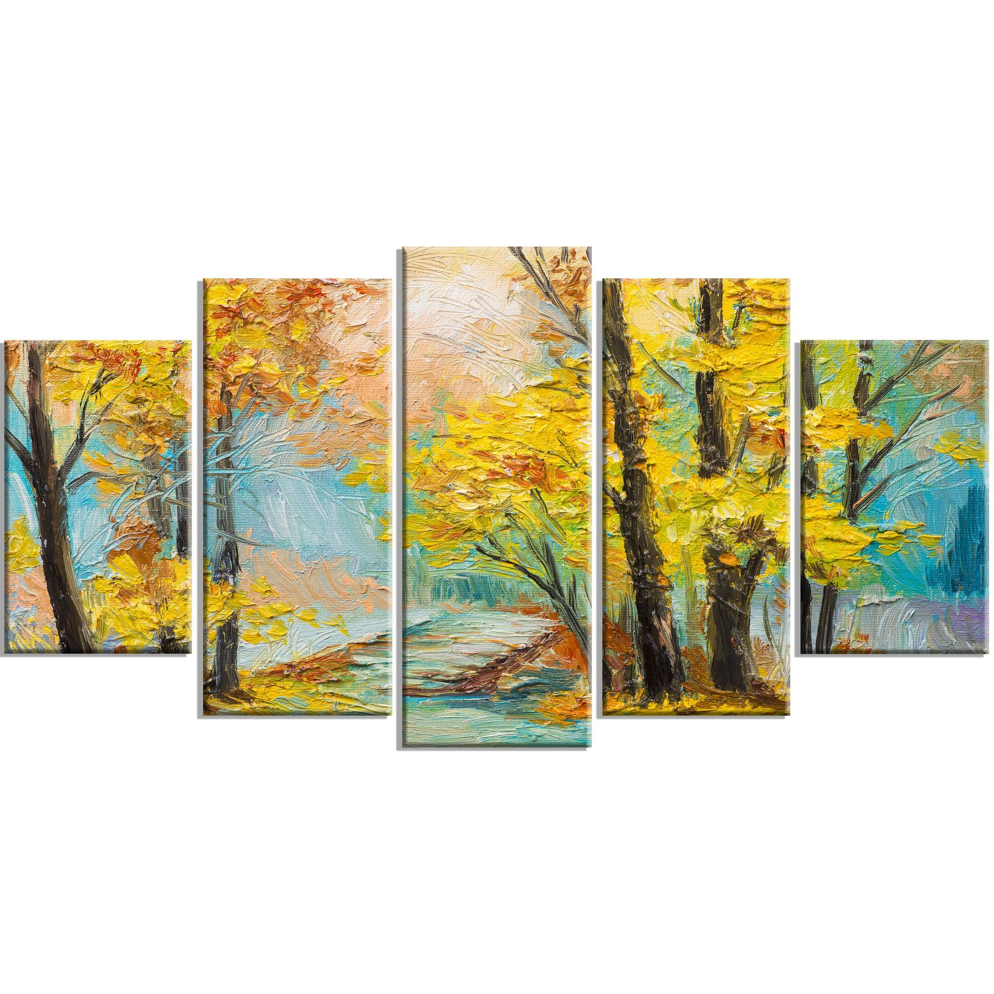 Yellow Falling Forest\' 5 Piece Wall Art on Wrapped Canvas Set ...
