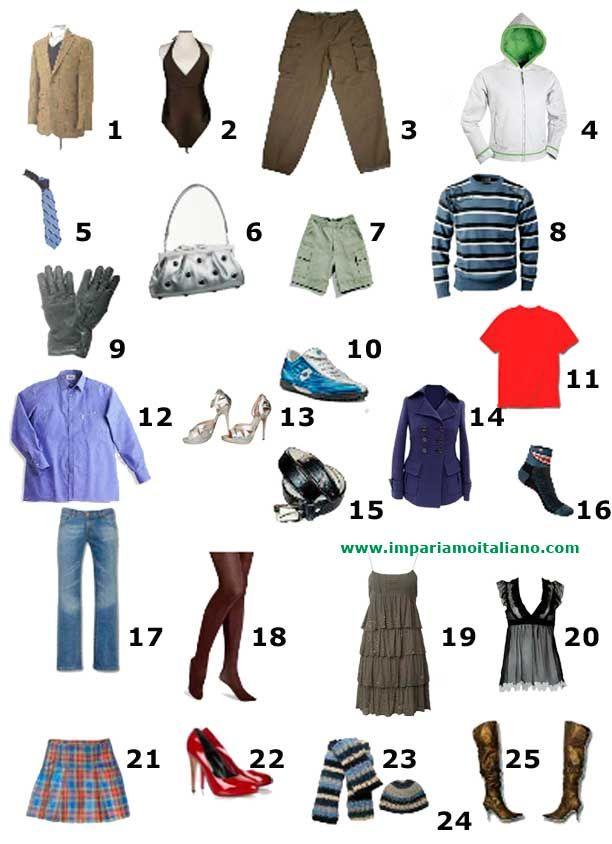 75700ff401 L'abbigliamento :: Vocabolario italiano illustrato :: Impariamo l ...