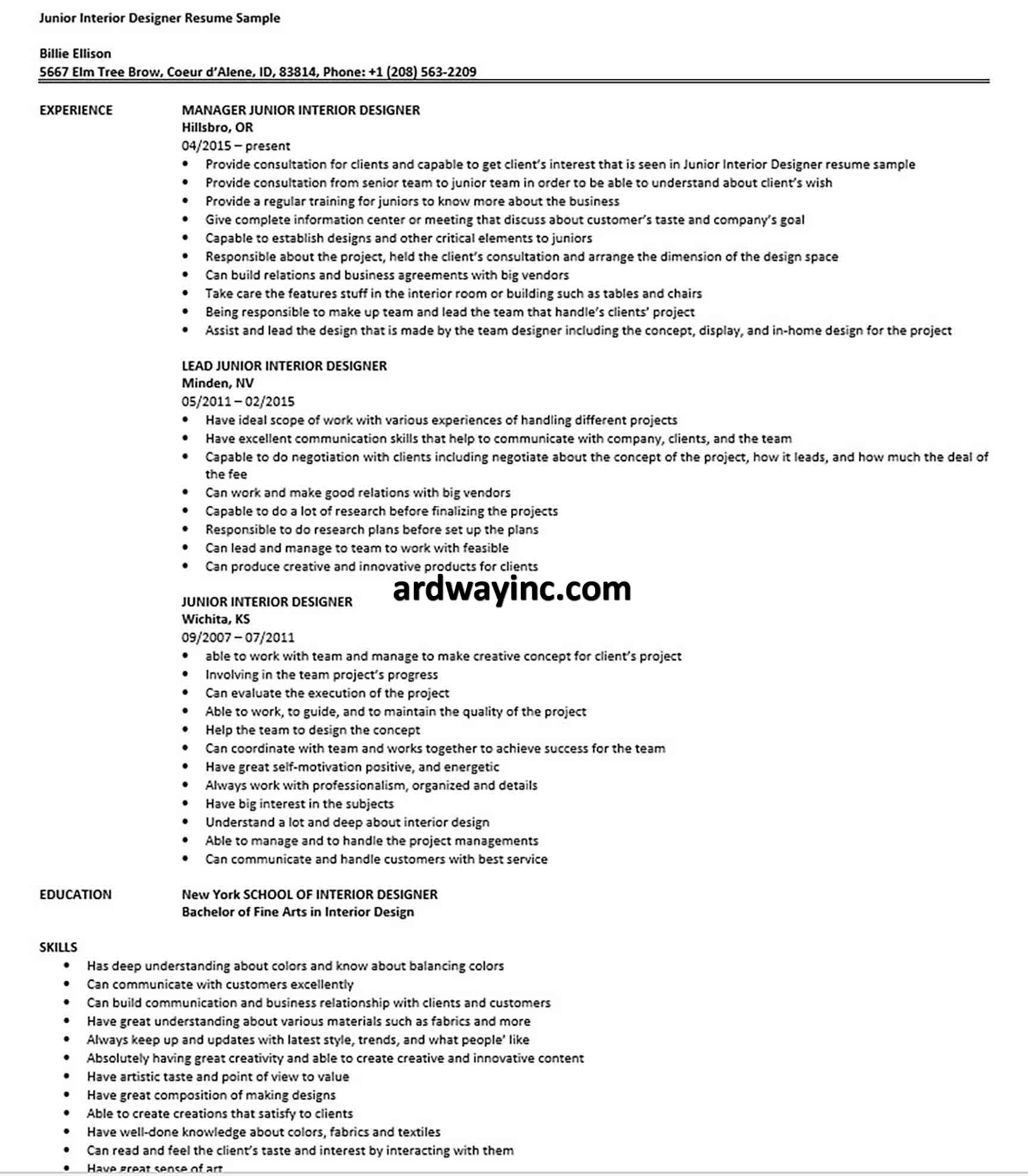 Junior Interior Designer Resume Sample In 2020 Resume Design Interior Design Jobs Resume