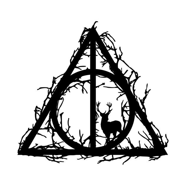 Harry Potter – Deathly hallows – Prongs in the forbidden forest (branches only black version) – Marauders – Potterhead – elder wand, invisibility cloa…