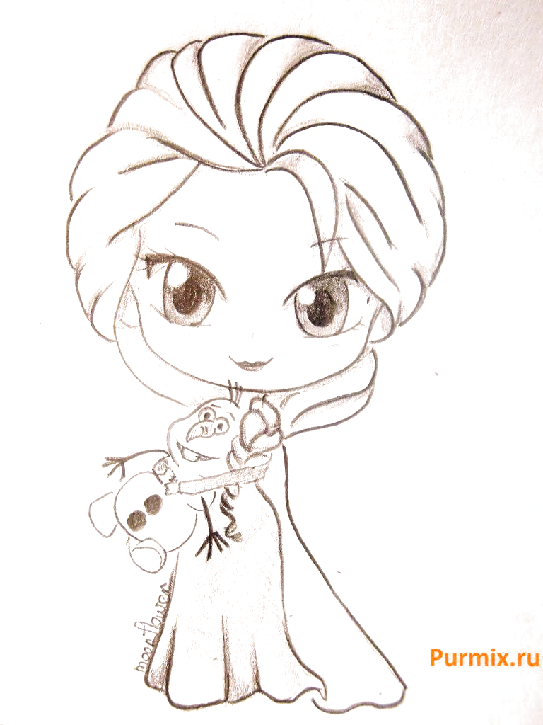 Learning to draw Chibi Elsa from Frozen with a simple pencil Disney Princess Drawings, D …
