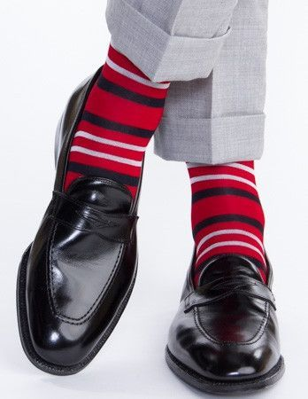Red with White and Navy Double Stripe Sock Linked Toe OTC