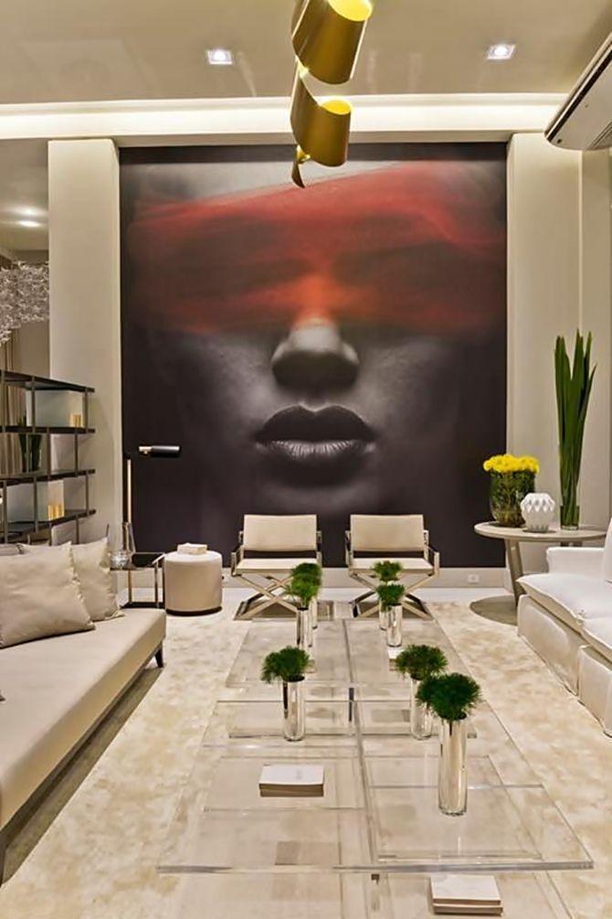 Diego Revollo   Marsala, Pantone 2015 The full wall art breaks the monochrome/light colour scheme used
