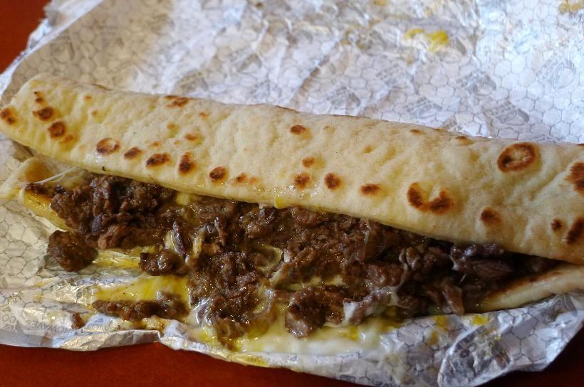 Taco Bell's Triple Steak Stack (flat bread) // LOVED.
