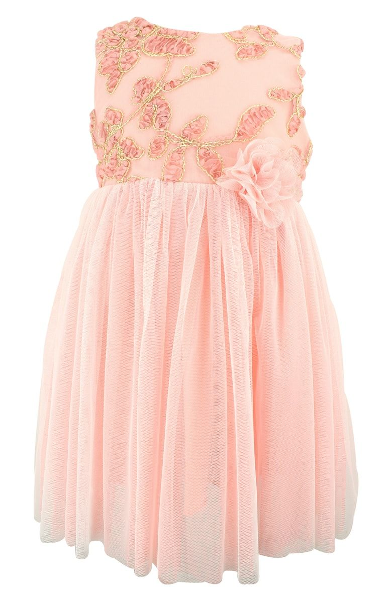 90f097f8f39 Free shipping and returns on Popatu Floral Embroidered Tulle Dress at  Nordstrom.com. Rosy flowers nestle inside gilded embroidery on the bodice  of a dreamy ...