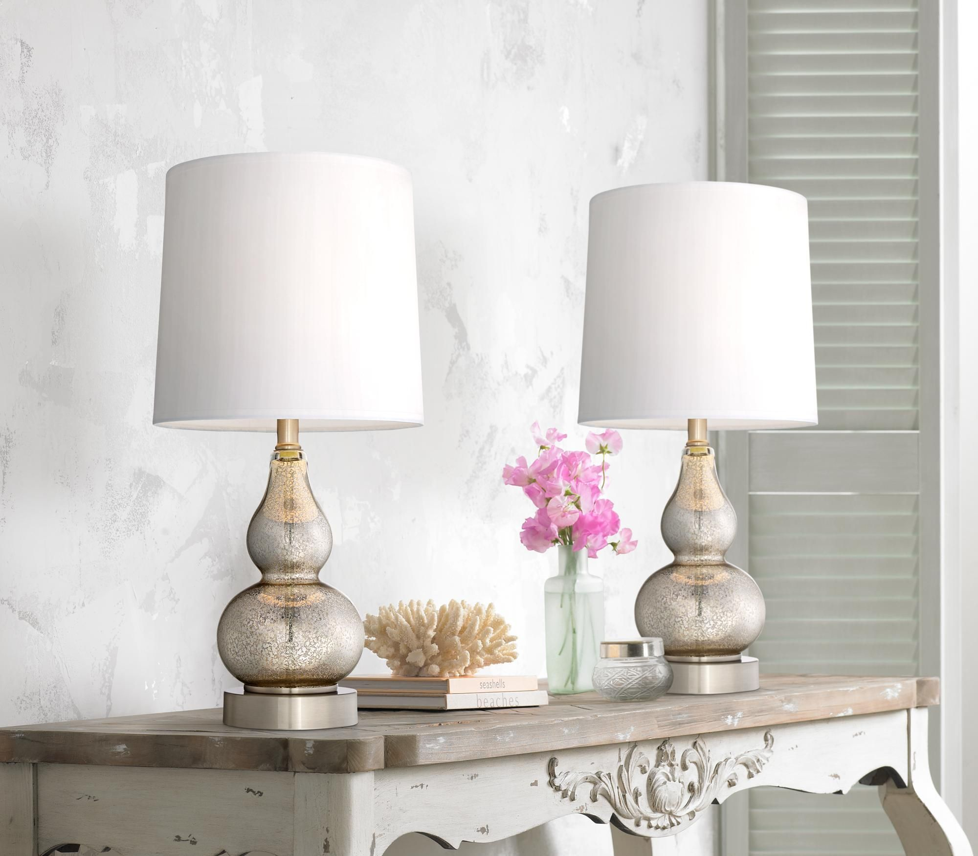 Set of 2 Castine Mercury Glass Table Lamps with USB Port Style