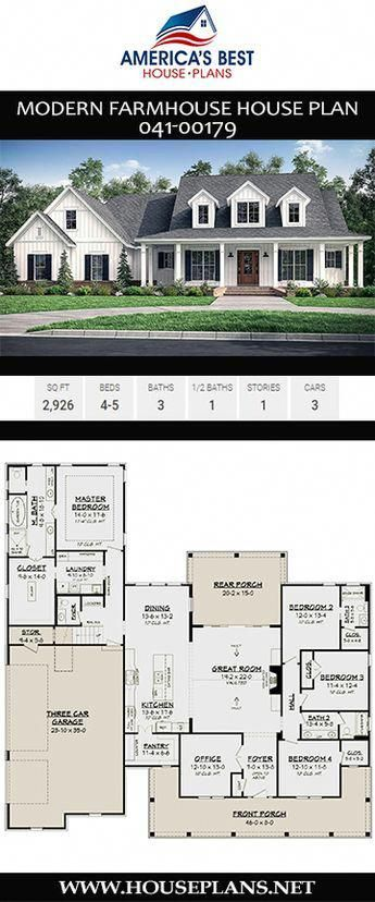 A Stunning 2 926 Sq Ft Modern Farmhouse Home Plan 041 00179 Features 4 5 Bedrooms 3 5 Bathroom New House Plans House Plans Farmhouse Farmhouse Floor Plans