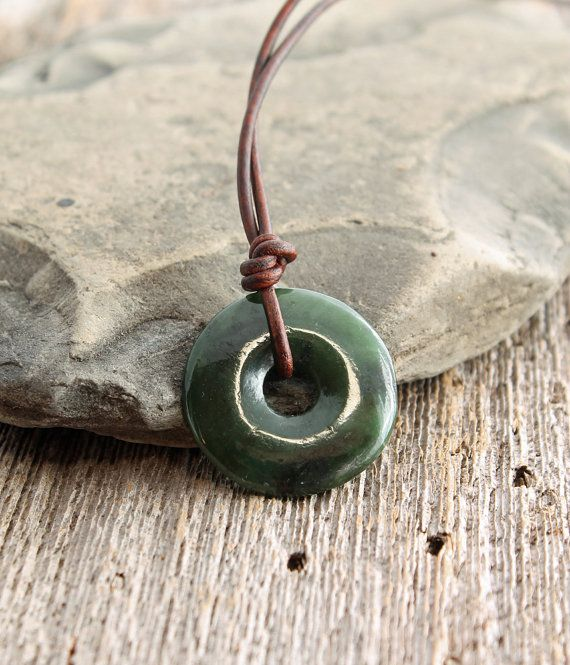 Canadian nephrite jade donut pendant on leather cord nephrite jade necklace nephrite jade donut pendant on by thespiralriver mozeypictures